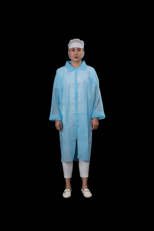 Blue PP lab coat with velcro