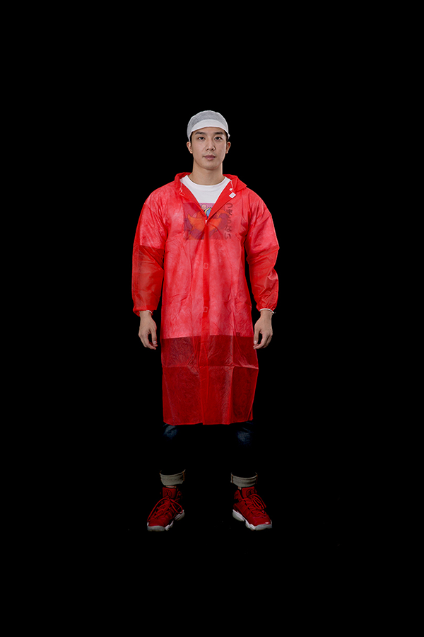 Red PP lab coat with velcro