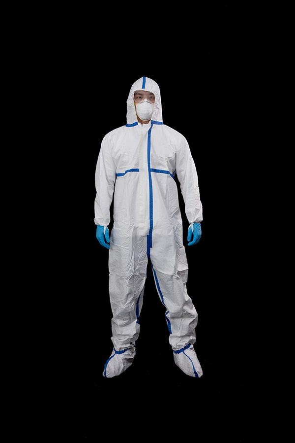 Microporous coverall with blue tape